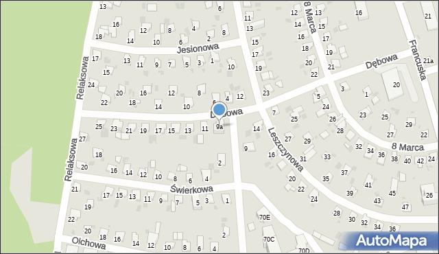 Bytom, Dębowa, 9a, mapa Bytomia