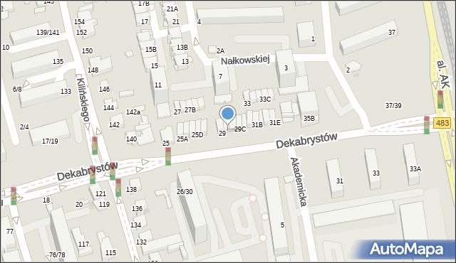 Częstochowa, Dekabrystów, 29A, mapa Częstochowy