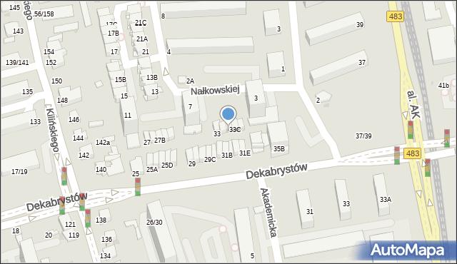 Częstochowa, Dekabrystów, 33B, mapa Częstochowy