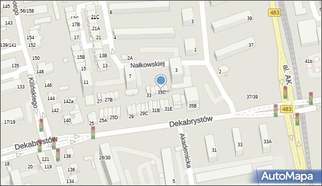 Częstochowa, Dekabrystów, 33C, mapa Częstochowy
