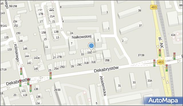 Częstochowa, Dekabrystów, 33D, mapa Częstochowy