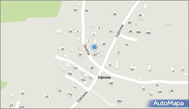 Dobczyce, Dębowa, 67A, mapa Dobczyce