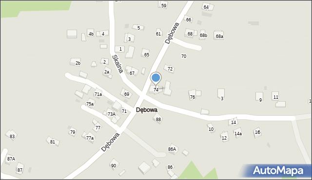 Dobczyce, Dębowa, 74, mapa Dobczyce