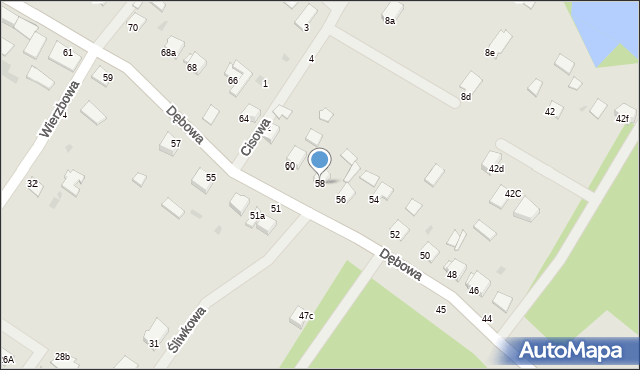 Grudziądz, Dębowa, 58, mapa Grudziądza