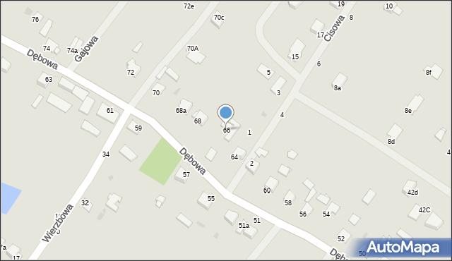Grudziądz, Dębowa, 66, mapa Grudziądza