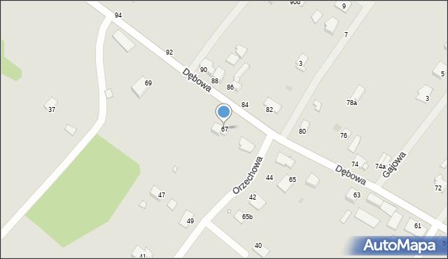 Grudziądz, Dębowa, 67, mapa Grudziądza