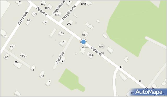 Grudziądz, Dębowa, 71, mapa Grudziądza
