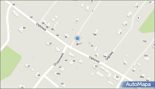 Grudziądz, Dębowa, 80, mapa Grudziądza