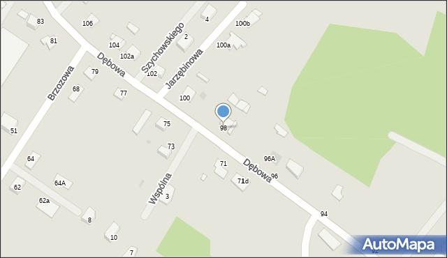 Grudziądz, Dębowa, 98, mapa Grudziądza