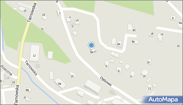 Limanowa, Dębowa, 5A, mapa Limanowa