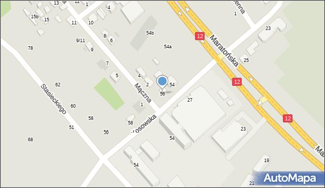Radom, Dębowa, 56, mapa Radomia