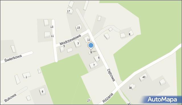 Robakowo, Dębowa, 9, mapa Robakowo