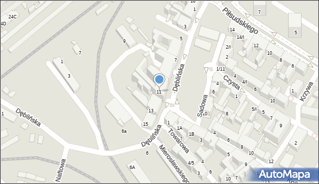 Sosnowiec, Dęblińska, 11, mapa Sosnowca