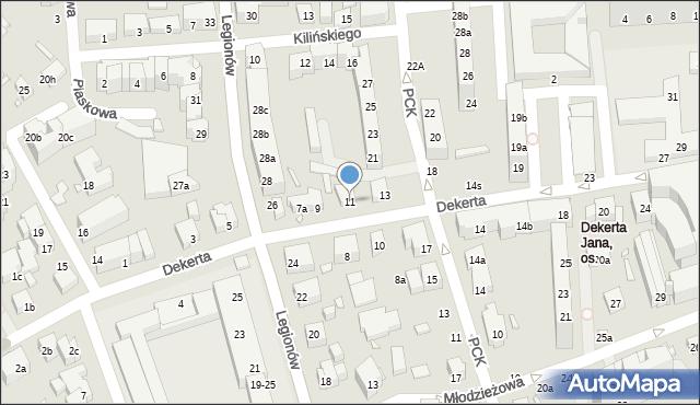 Toruń, Dekerta Jana, 11, mapa Torunia