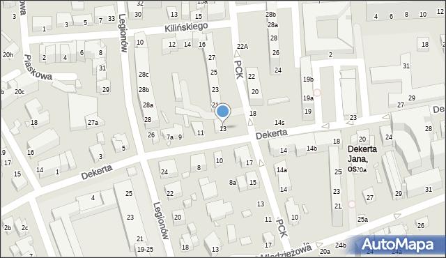 Toruń, Dekerta Jana, 13, mapa Torunia