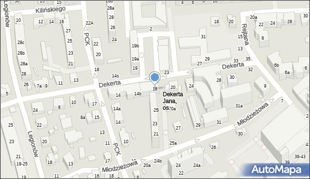 Toruń, Dekerta Jana, 18, mapa Torunia