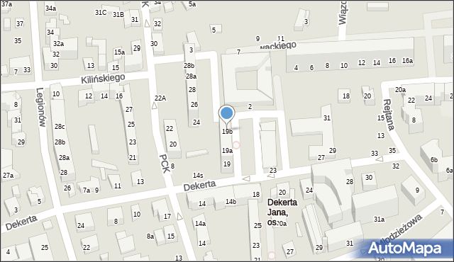 Toruń, Dekerta Jana, 19b, mapa Torunia