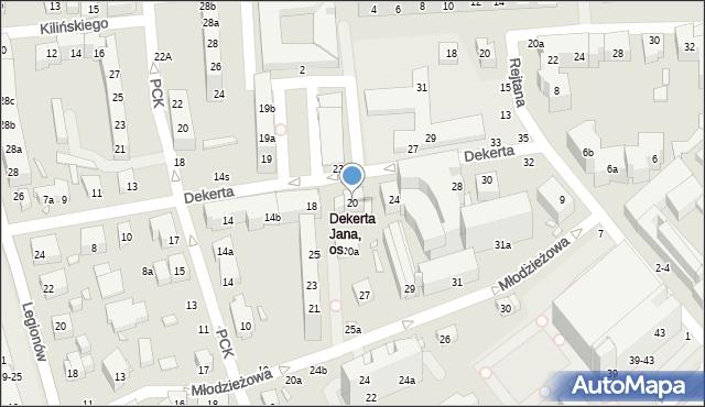 Toruń, Dekerta Jana, 20, mapa Torunia