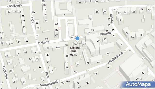 Toruń, Dekerta Jana, 22, mapa Torunia