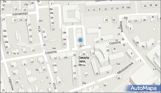 Toruń, Dekerta Jana, 23, mapa Torunia
