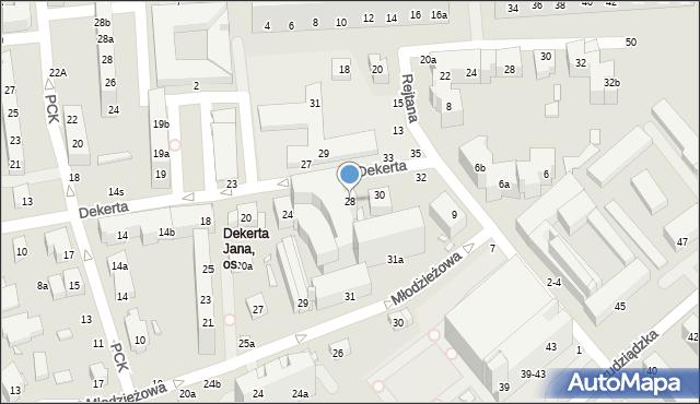 Toruń, Dekerta Jana, 28, mapa Torunia