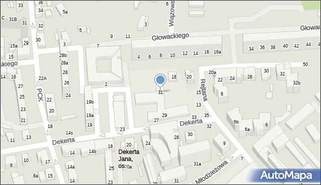 Toruń, Dekerta Jana, 31, mapa Torunia