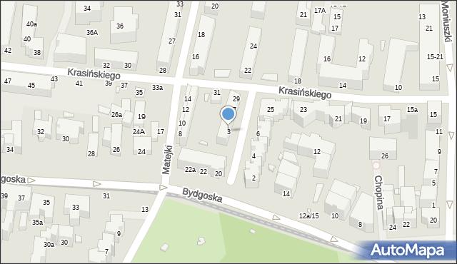 Toruń, Derdowskiego Hieronima, 3, mapa Torunia
