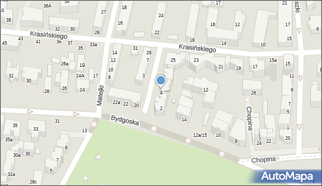 Toruń, Derdowskiego Hieronima, 4, mapa Torunia
