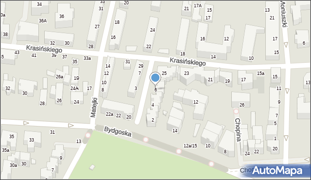 Toruń, Derdowskiego Hieronima, 6, mapa Torunia