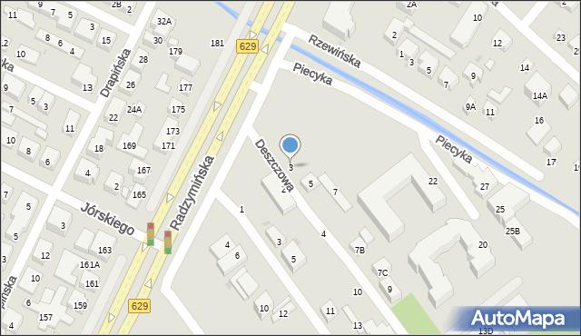 Warszawa, Deszczowa, 3, mapa Warszawy