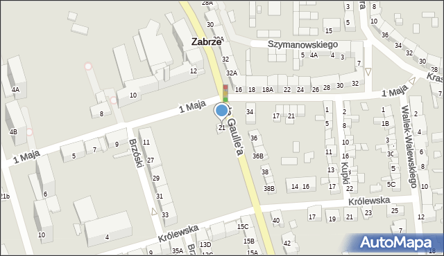Zabrze, de Gaulle'a Charlesa, gen., 21, mapa Zabrza