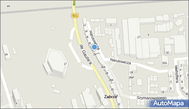 Zabrze, de Gaulle'a Charlesa, gen., 24, mapa Zabrza