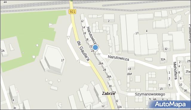 Zabrze, de Gaulle'a Charlesa, gen., 26, mapa Zabrza