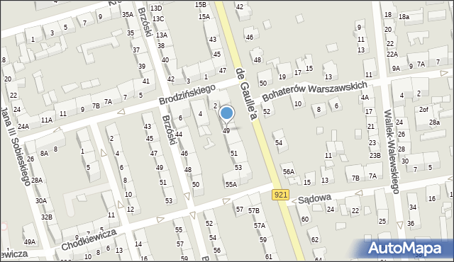 Zabrze, de Gaulle'a Charlesa, gen., 49, mapa Zabrza