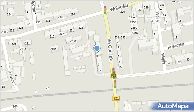 Zabrze, de Gaulle'a Charlesa, gen., 5, mapa Zabrza