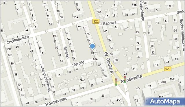 Zabrze, de Gaulle'a Charlesa, gen., 63, mapa Zabrza
