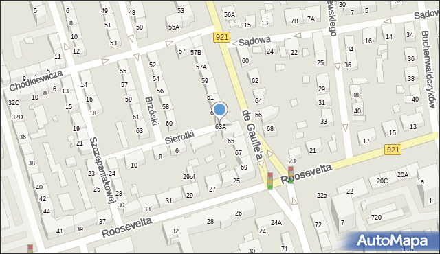 Zabrze, de Gaulle'a Charlesa, gen., 63A, mapa Zabrza