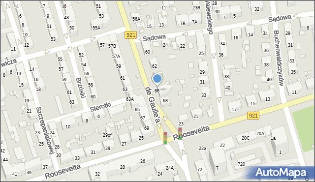 Zabrze, de Gaulle'a Charlesa, gen., 66, mapa Zabrza