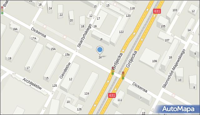Warszawa, Dickensa Karola, 14, mapa Warszawy