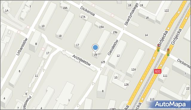 Warszawa, Dickensa Karola, 15, mapa Warszawy