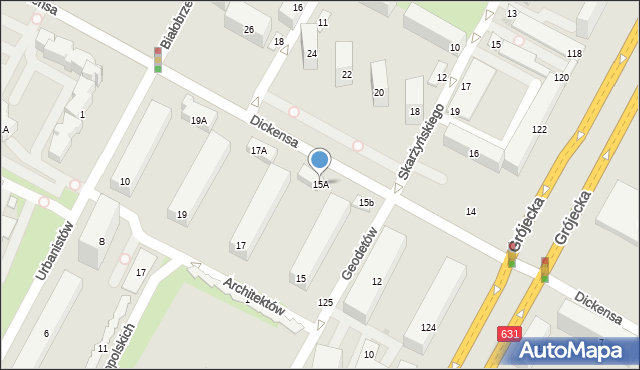 Warszawa, Dickensa Karola, 15A, mapa Warszawy