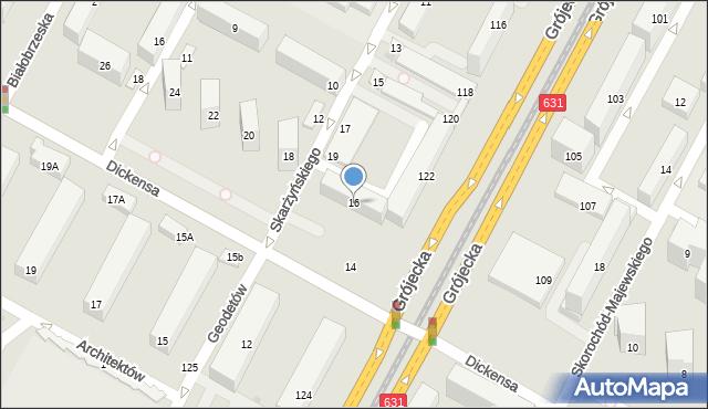 Warszawa, Dickensa Karola, 16, mapa Warszawy