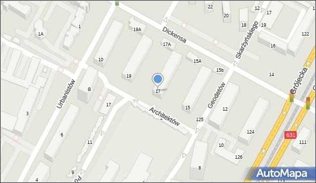 Warszawa, Dickensa Karola, 17, mapa Warszawy
