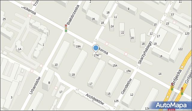Warszawa, Dickensa Karola, 17A, mapa Warszawy
