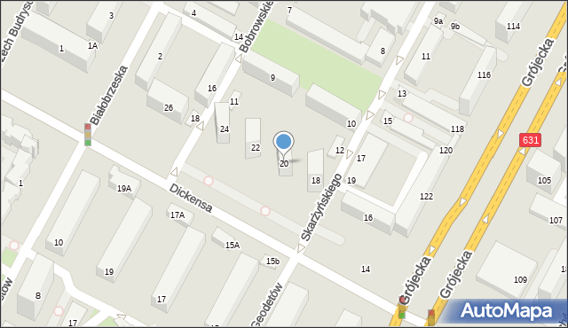 Warszawa, Dickensa Karola, 20, mapa Warszawy