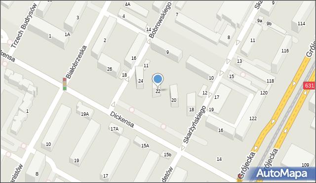 Warszawa, Dickensa Karola, 22, mapa Warszawy