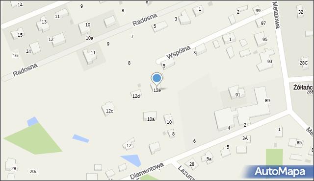 Żółtańce-Kolonia, Diamentowa, 12e, mapa Żółtańce-Kolonia