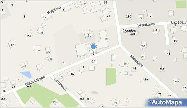 Żółtańce-Kolonia, Diamentowa, 2, mapa Żółtańce-Kolonia