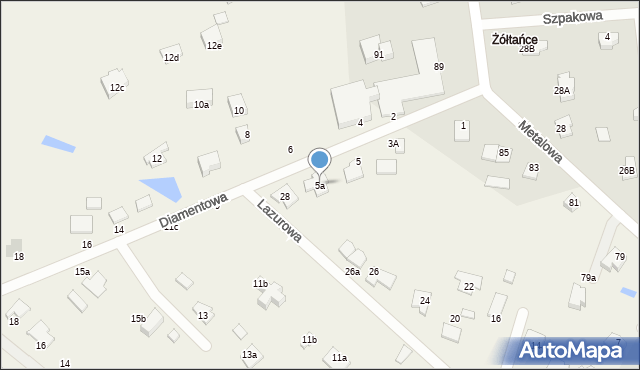 Żółtańce-Kolonia, Diamentowa, 5a, mapa Żółtańce-Kolonia