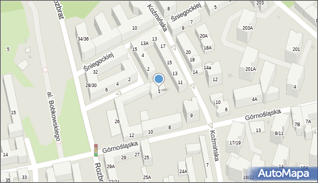 Warszawa, Dmochowskiego Franciszka Ksawerego, 1, mapa Warszawy